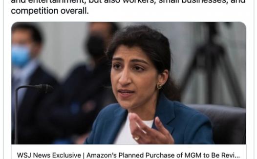 亚马逊收购米高梅难度升级?FTC将进行反垄断审查